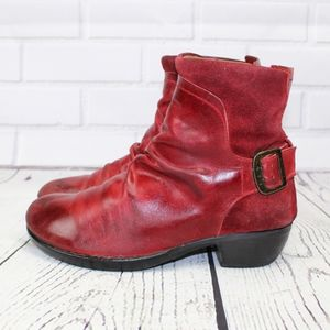 Fly London Soft Red Leather Ankle Moto Boots 39